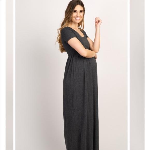 Pinkblush Dresses & Skirts - Pinkblush Charcoal Solid Short Sleeve Maxi Dress